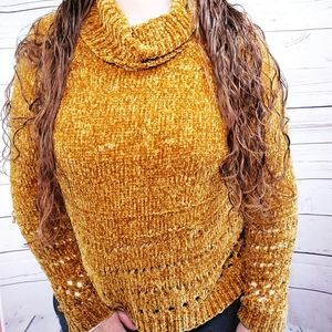 Xhilaration open knit cowl neck pullover sweater L